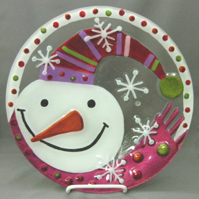 Snowman with pink and green scarf plate - Lori Siebert (Demdaco)