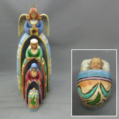 Nestled Holy Family with Angel (4 pc set)