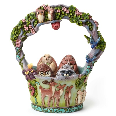 Woodland Basket with 4 Eggs