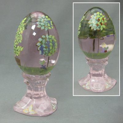 Pink Egg on Stand with painted topiaries