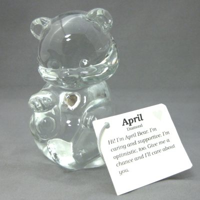 Crystal Birthstone Bear April (diamond)