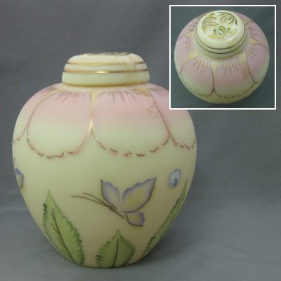 Burmese and Pink Ginger Jar with painted butterflies 7 1/2""
