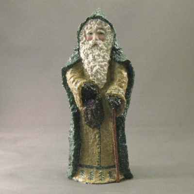 Santa in Green Cloak with Sack