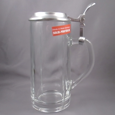 Alwe glass stein with solid pewter lid