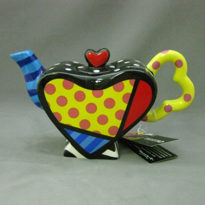 Mini Heart Teapot (Spots - blue spout) - Britto