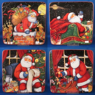 The Night Before Christmas set of 4 square plates