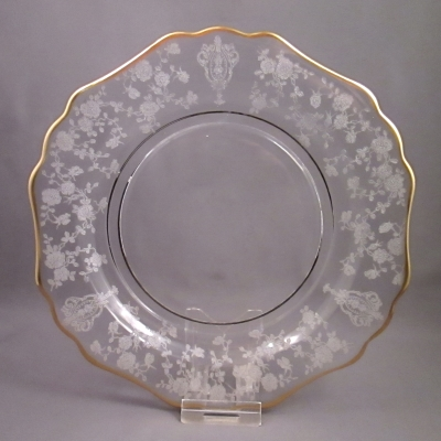 Cambridge Rose Point, Clear, Gold Trim salad plate