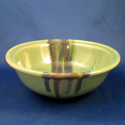 Clay in Motion bowl, green & tan