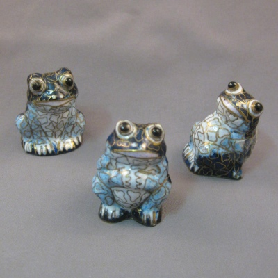 Cloisonne Frogs, Set of Three
