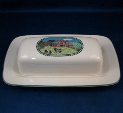 Noritake Country Fences covered butter dish