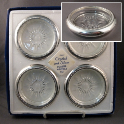 Crystal and Silver Coaster/Ashtray Set of 4- Leonard (Italy)