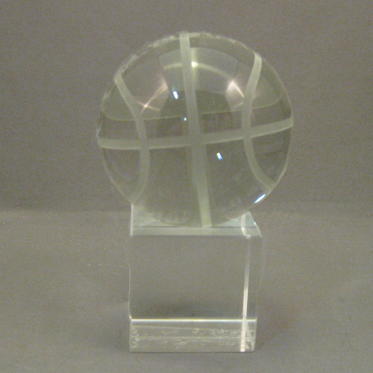 Crystal Basketball on Square Stand (2 piece set)