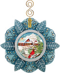 Blue Snowflake with Cardinal Ornament