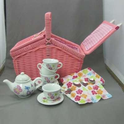Butterfly Tea Set (19 pc) with basket - Delton