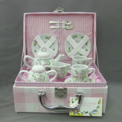 Owls tea set (15 pc) with basket - Delton