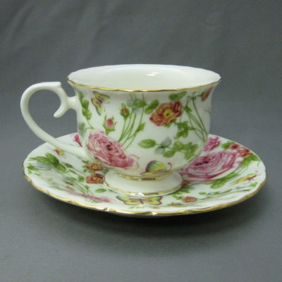 Pink Chintz cup & saucer - Delton