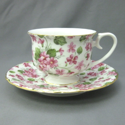 Pink Phlox cup & saucer - Delton