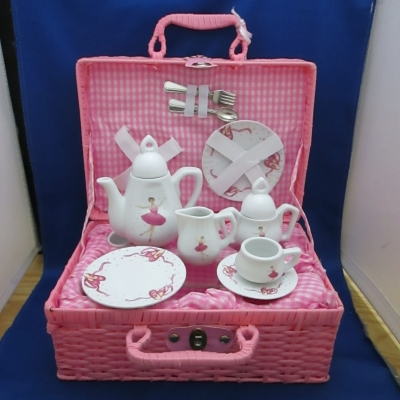 Ballerina child's tea set (15 piece) with basket - Delton
