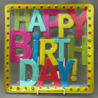 Happy Birthday square plate - Lori Siebert (Demdaco)