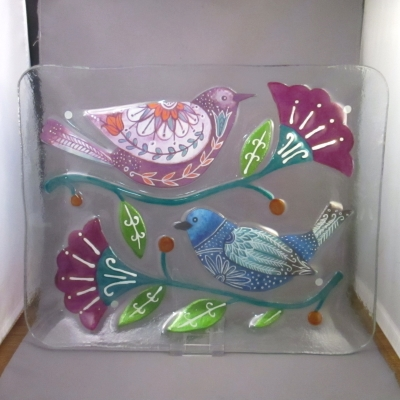 Birds and Flowers rectangular platter by Lori Siebert (Demdaco)
