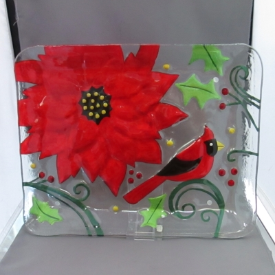 Cardinal and Poinsettia rectangular platter