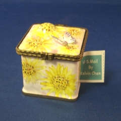 Stamp Box, Square with Sunflowers