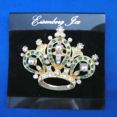 Eisenberg Ice Crown with Green Stones brooch