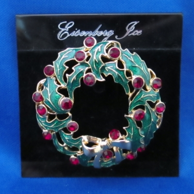 Eisenberg Ice Enamel Christmas Wreath brooch