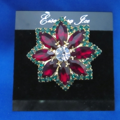 Eisenberg Ice Star - Red, Green, Clear Center - brooch