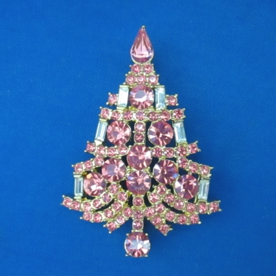 Eisenberg Ice Small Pink Candle Tree brooch