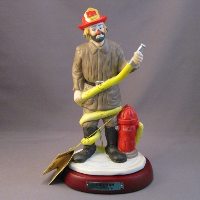 Fireman with wooden stand