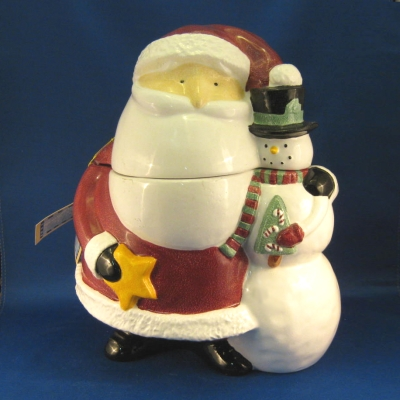 Santa Claus & Snowman cookie jar - Enesco