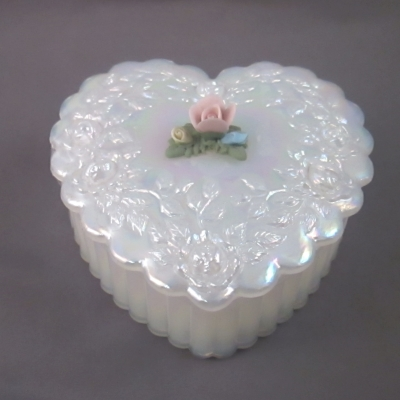 Opalescent Heart Trinket Box with bisque flower decoration