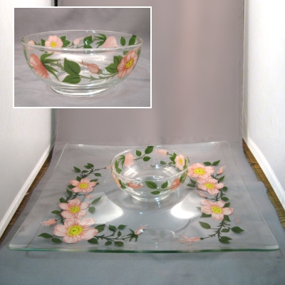 Franciscan Desert Rose glassware 2 pc chip & dip set