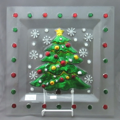 Christmas Tree square plate by Ganz