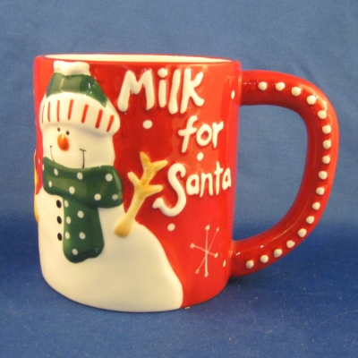 Ganz Milk for Santa Mug (red with snowman)