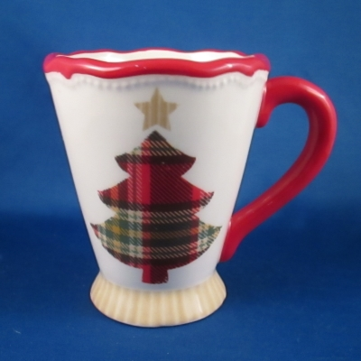 Ganz Plaid Christmas tree mug