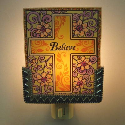 Ganz Interchangeable Nightlight panel (only) - Believe Cross