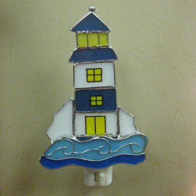Lighthouse - blue & white stained glass nightlight - Ganz