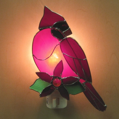 Cardinal (wingsclose-poinsettia) stained glass nightlight - Ganz