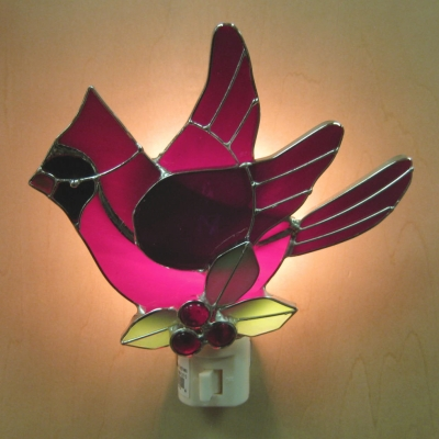 Cardinal (wings out-holly) stained glass nightlight - Ganz
