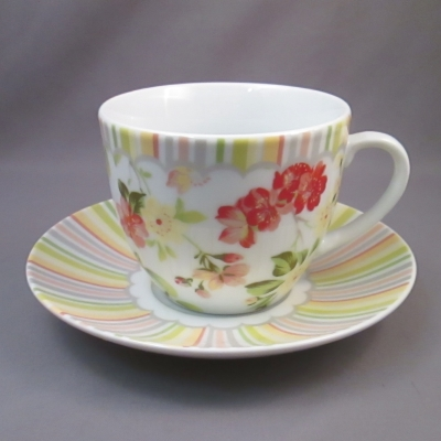 Ganz Stripes and Floral cup & saucer