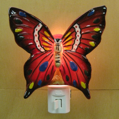 Ceramic Butterfly-Red nightlight - Ganz