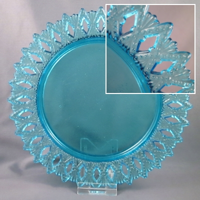 Blue pierced rim glass plate