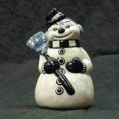 """Buttons"" the Snowman with Broom"