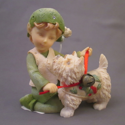 Elf with Dog (West Highland Terrier) figure