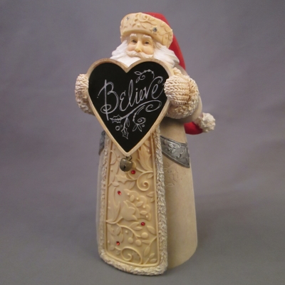 "Santa with ""Believe"" Sign figure"