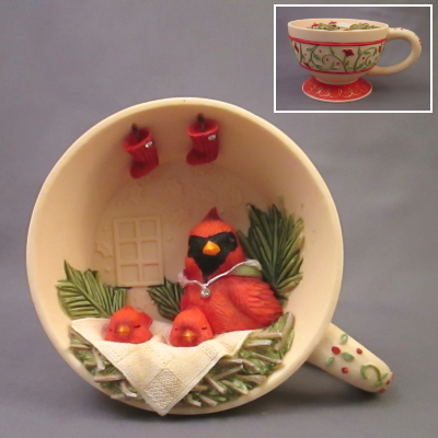Home Tweet Home cardinal in teacup figure