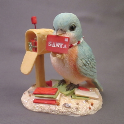 Tweeting Santa - bluebird & mailbox figure