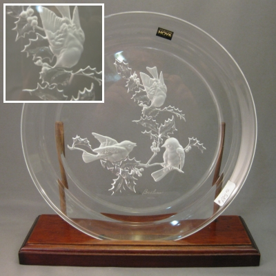 Hoya Boehm engraved bird plate - Click Image to Close
